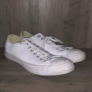 White Leather Converse Sneakers - Great Condition!